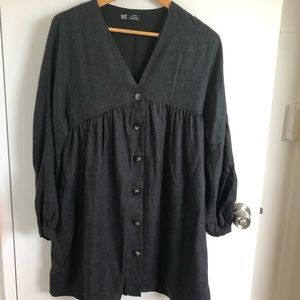 Zara TRF collection gray button down dress Sz S
